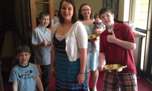 Members of our Youth Group collecting the offering